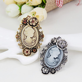 The New Retro beauty head Flower Crystal Brooch Classical Feminine Style