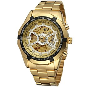 Forsining Men's Wrist Watch Mechanical Watch Automatic Self Winding Hollow Engraving Stainless Steel Band Analog Luxury Fashion Gold Gold White Black