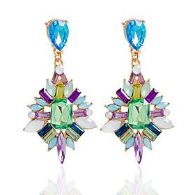 Drop Earrings Earrings Set Earrings Jewelry Women Wedding Party Daily Alloy Rhinestone 1 pair Fuchsia Blue Multi Color