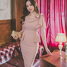 New Korean Women OL Slim package hip temperament flounced lace bow dress dress skirt