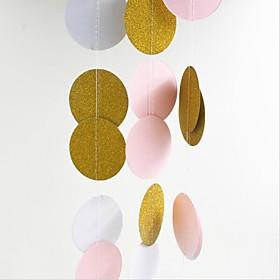 5cm2m Pink White Gold Bunting Hanging Garland Valentine Birthday Party Wedding Shower Room Decoration Paper Round Circle String