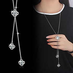 Lariat Pendant Necklace Y Necklace Long Necklace Cubic Zirconia Silver Plated Flower Ladies Basic Fashion Silver Necklace Jewelry For Wedding Party Special Occ