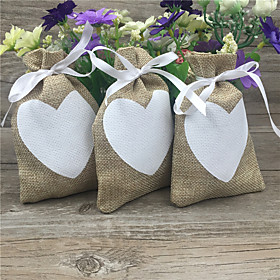 Round Square Cuboid Jute Favor Holder with Ribbons Printing Favor Boxes Favor Bags - 20
