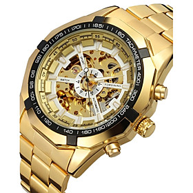 Forsining Men's Automatic Mechanical Hollow Dial Gold Steel Band Wrist Watch (assorted Colors) Cool Watch Unique Watch Fashion Watch