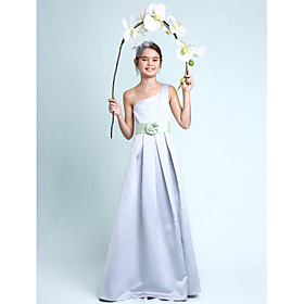 A-Line Princess One Shoulder Floor Length Satin Junior Bridesmaid Dress with Draping Flower(s) Sash / Ribbon by LAN TING BRIDE