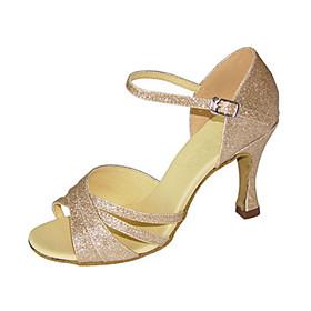 Customizable Women's Ballroom Dance Shoes Sparkling Glitter Latin Jazz Swing Shoes Salsa Sandals Heels Customized HeelPractice