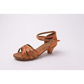 Customizable Kids' Dance Shoes Leatherette Paillette Latin Salsa Sandals Low Heel Practice dance shoes Beginner Professional
