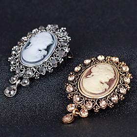 The New Retro Beauty Head Crystal Pendant Brooch