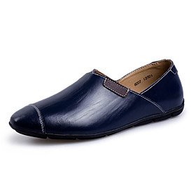 Men's Moccasin Cowhide Spring / Summer / Fall Loafers  Slip-Ons Walking Shoes Wearable Black / Brown / Navy Blue