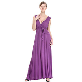 Gaine Robe Femme Grandes Tailles Sophistiqué,Couleur Pleine V Profond Maxi Sans Manches Violet Coton Polyester Eté Taille Normale
