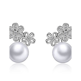 925 Imitation Pearl Stud Earrings Ball Earrings Jewelry Wedding Party Daily ..