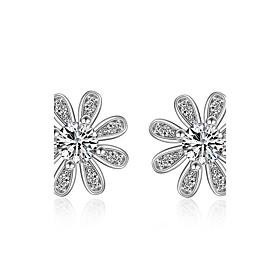 925 Sterling Silver Earrings Daisy Flower AAA Cubic Zirconia Stud Earrings J..