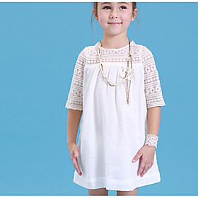 Girl's Solid Dress,Cotton Summer Half Sleeve 5637188