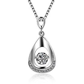 925 Necklace Pendant Necklaces Jewelry Special Occasion Daily Casual Christmas Gifts Oval Adorable Zircon Platinum Plated 1pc Gift Silver