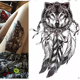 1 pcs   Wolf with Feather 21x15cm Cool Beauty Tattoo Waterproof Temporary Tattoo Stickers 5592628