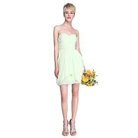 LAN TING BRIDE Short / Mini Chiffon Bridesmaid Dress - Sheath / Column Strapless / Sweetheart Plus Size / Petite plus size,  plus size fashion plus size appare