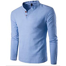 Men's Daily Sports Casual All Seasons T-shirt,Solid Stand Long Sleeves Cotton Thin 5633188
