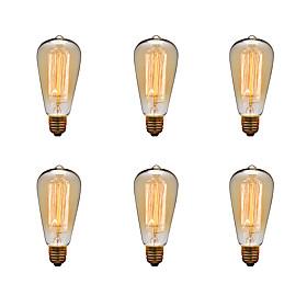Ecolight™ 6pcs 40 W E26 / E27 St64 2300 K Ampoule Incandescente Edison Vintage 220 240 V