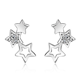 925 Sterling Silver Necklace AAA Cubic Zirconia Stud Earrings Jewelry Star P..