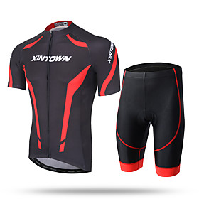 XINTOWN Men's Short Sleeves Cycling Jersey with Shorts - White Red Blue Bike Shorts Jersey Pants / Trousers Clothing Suits, Quick Dry, 5628121