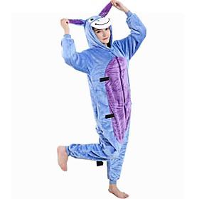 Kigurumi Pajamas Donkey Onesie Pajamas Costume Flannel Toison Blue Cosplay For Kid Adults' Animal Sleepwear Cartoon Halloween Festival / 5604096