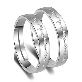 Ring Wedding Party Special Occasion Jewelry Platinum Plated Heartbeat Couple..