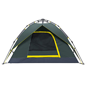 3 - 4 person  Outdoor Backpacking Tent Waterproof Quick Dry Breathability Automatic Dome One Room Double Layered 2000-3000 mm Camping Tent  for Hiking Camping