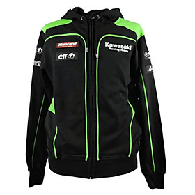 Kawasaki Motorsport Racing Hoodie Jacket Black/Green Color Mens Biker Sweatshirt 5635724