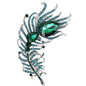 Large Women Vintage Zircon Feather Brooch Pin Crystal Rhinestone Metal Jewel..