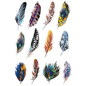1.32.7in Cover scratches stickers Colorful feathers stickers for car (12pcs)01
