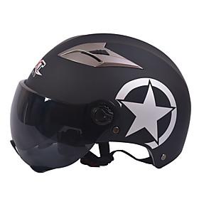 GXT M11 Motorcycle Half Helmet Dual-Lens Harley Sunscreen Helmet Summer Unisex Suitable For 55-61CM with Short Tea Mirror Lens 5603931