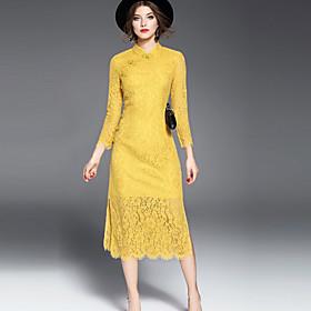 Gaine Robe Femme Soirée / Cocktail Vintage,Broderie Mao Midi Manches ¾ Polyester Printemps Eté Taille Normale Micro-élastique Moyen