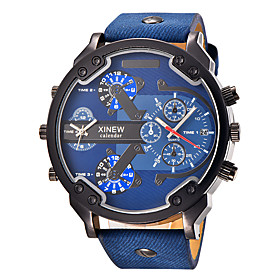 Men's Quartz Wrist Watch / Military Watch / Sport Watch Calendar / Date / Day / Large Dial / Punk / Cool / Dual Time Zones Leather Band