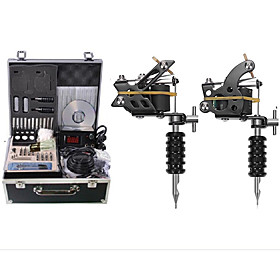 Complete Tattoo Kit 2 steel machine liner  shader 2 Tattoo Machines LCD power supply Inks Shipped Separately 5592636