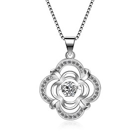 925 Necklace Choker Necklaces Jewelry Party Birthday Engagement Daily Flower Circular Design Flower Style Zircon Platinum Plated 1pc Gift