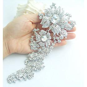 Women's Trendy Alloy Silver-tone Rhinestone Crystal Flower Wedding Bridal Br..