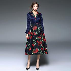 Moulante Robe Femme Vacances Sortie simple Bohème,Fleur Col en V Midi Manches Longues Bleu Polyester Printemps Taille Haute Non Elastique
