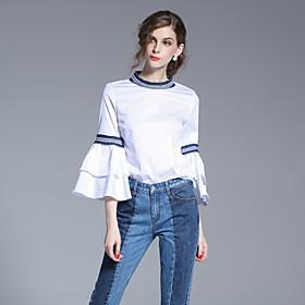 Femme volant/Manches Evasées Chemise,Couleur Pleine Sortie simple Printemps Eté Manches Longues Col Arrondi Blanc Coton
