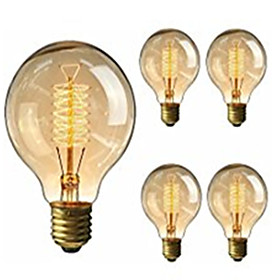 5pcs 40W E26 / E27 G95 Warm White 2200 2800k Retro Dimmable Decorative Incandescent Vintage Edison Light Bulb 220 240V