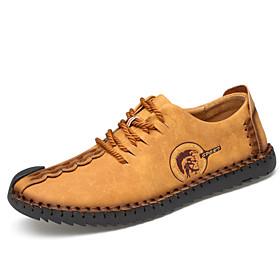 Men's Light Soles Microfiber Spring / Summer / Fall Comfort Sneakers Slip Resistant Black / Earth Yellow / Khaki