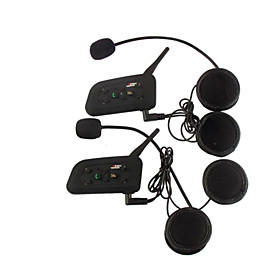 Vnetphone V6 2Pcs 1200M Waterproof Motorcycle Helmet Interphone Full Duplex Bluetooth Car Kit Intercom Headset