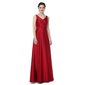 4ddd63c89 Corte en A Escote en Pico Hasta el Suelo Satén Vestido de Dama de Honor con