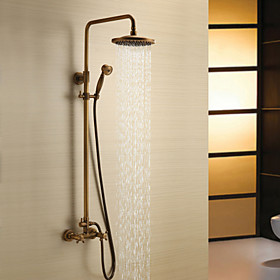 Shower Faucet - Antique Antique Brass Shower System Ceramic Valve Bath Shower Mixer Taps / Two Handles Three Holes