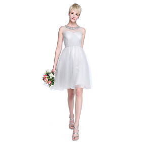 LAN TING BRIDE Knee-length Tulle Mini Me Bridesmaid Dress - A-line / Princess Jewel Plus Size / Petite plus size,  plus size fashion plus size appare
