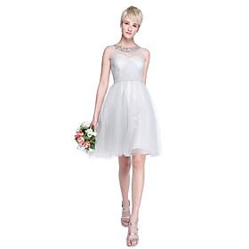 LAN TING BRIDE Knee-length Tulle Mini Me Bridesmaid Dress - A-line / Princess Jewel Plus Size / Petite plus size,  plus size fashion plus size appare