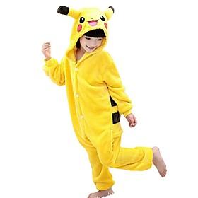 Kigurumi Pajamas Pika Pika Onesie Pajamas Costume Polar Fleece Yellow Cosplay For Kid Animal Sleepwear Cartoon Halloween Festival / 5494924