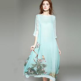 Balançoire Robe Femme Sortie Grandes Tailles Mignon,Fleur Motif Animal Col Arrondi Asymétrique Soie Printemps Eté Taille Normale