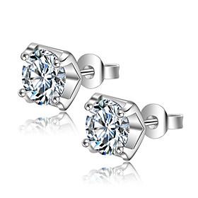 925 Sterling Silver Earrings Heart AAA Cubic Zirconia Stud Earrings Jewelry