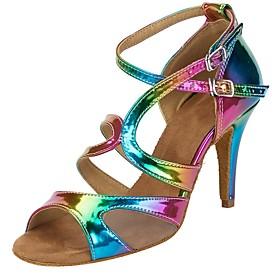 Customizable Women's Rainbow Dance Shoes Leatherette Salsa Sandals Heels Customized Heel Performance Dancing Shoes