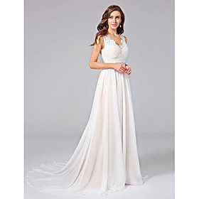 A-Line V Neck Court Train Chiffon Lace Custom Wedding Dresses with Appliques Lace Sash / Ribbon Button by LAN TING BRIDE